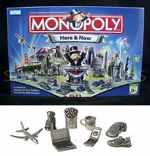 New - MONOPOLY HERE & NOW Game - New Tokens McD FRIES Laptop JET Prius STARBUCKS