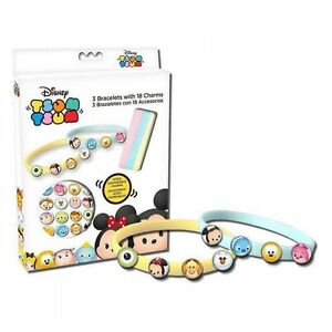 """Disney /""""Tsum Tsum/"""" 3 Wristband Bracelets With 18 Charms Official Merchandise"""
