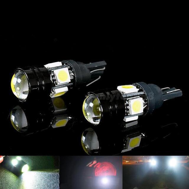2pcs T10 Car LED Auto Lamp 5W-12V Light Bulbs With Bifocal Lens White Light OT8G