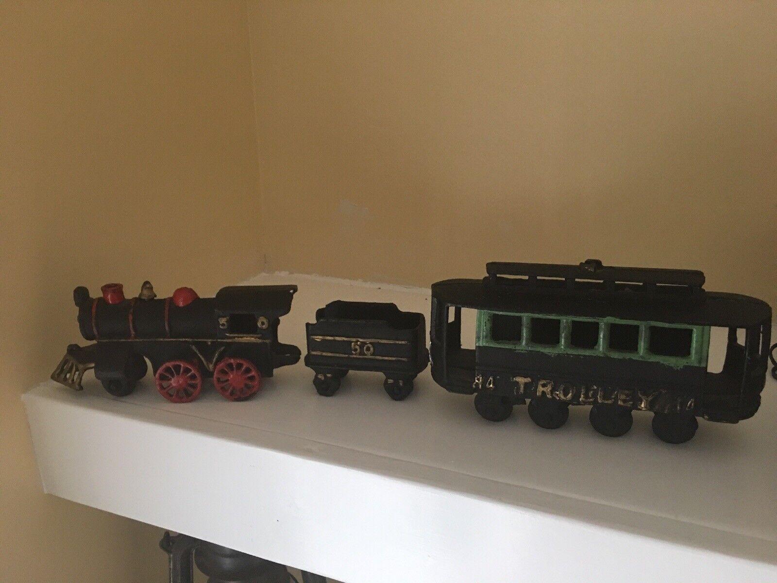 Vintage Cast Iron Train Set