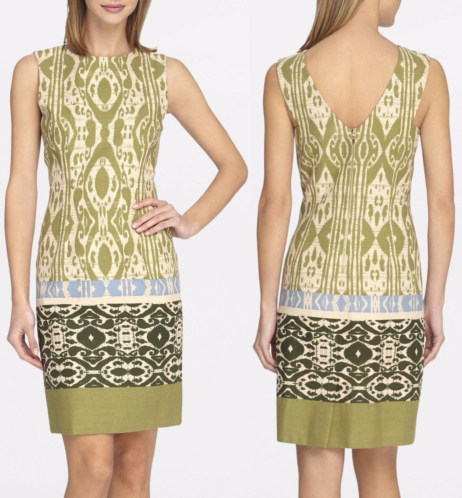 Tahari 6220M397 Natural/Olive/Peri Boho-Inspired V-Back Linen Sheath Dress  $118