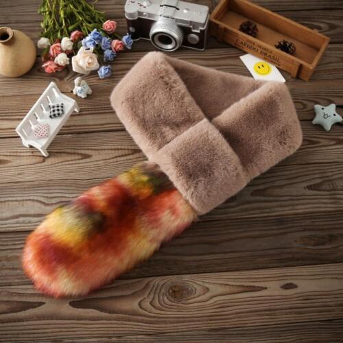 Nouveau femmes hiver fausse fourrure écharpe cou Warmer Wrap col châle étole cadeau de Noël