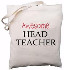 Awesome Head Teacher - Natural Cotton Shoulder Bag - School Gift