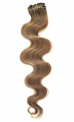 Light Brown Clip in HUMAN HAIR EXTENSION #8 Body Wave