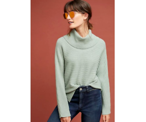 ANTHROPOLOGIE-Womens-Moth-Green-Ribbed-Turtleneck-Green-Ribbed-jumper-M-RRP-88
