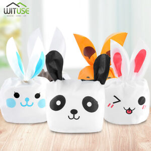 50X-CANDY-GIFT-BAGS-BUNNY-RABBIT-LONG-EARS-COOKIE-BAKERY-PLASTIC-TREAT-POUCH-BA