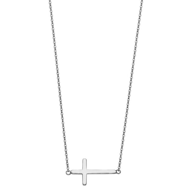 Real Solid 14k White Gold Sideways Cross Pendant Necklace 17+1 Inches Chain