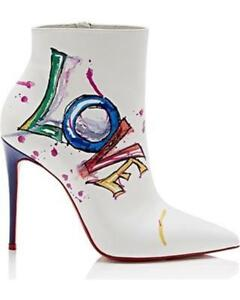 sports shoes 0d8f8 c4b7c Details about Christian Louboutin BOOT IN LOVE 100 Leather Ankle Booties  Heels White $1245