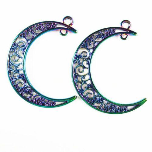 5Pcs Carved Rainbow Plated Tibetan Silver Moon Pendant Bead SH802