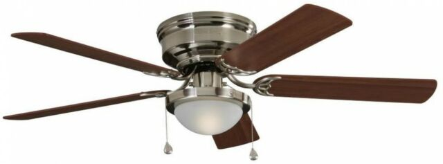 Harbor breeze armitage 52 in brushed nickel indoor flush mount harbor breeze armitage 52 in brushed nickel indoor flush mount ceiling fan aloadofball Images