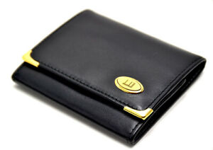 Dunhill-Authentic-Leather-Coin-and-Card-Holder-Wallet-with-Snap-Closure-Black