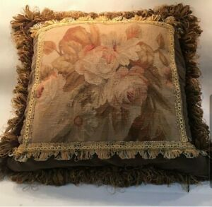 Beautiful-Vintage-Floral-Pillow-Needlepoint-Silken-Fringe-w-Velvet-Back