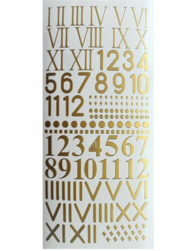 ROMAN NUMBERS Peel Off Stickers Clock Face Numerals Card Making Gold or Silver