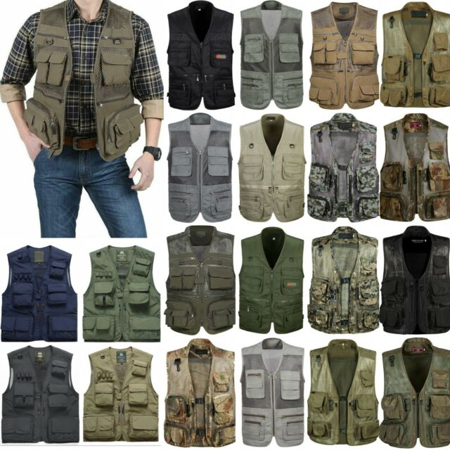 Breathable Vest Men Quick-Dry Summer Photography Hunting Fishing Zip Waistcoat