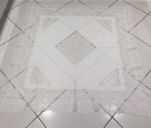 VINTAGE-ANTIQUE-WHITE-LINEN-LACE-TABLECLOTH-SQUARE-60-x-66-BEAUTIFUL