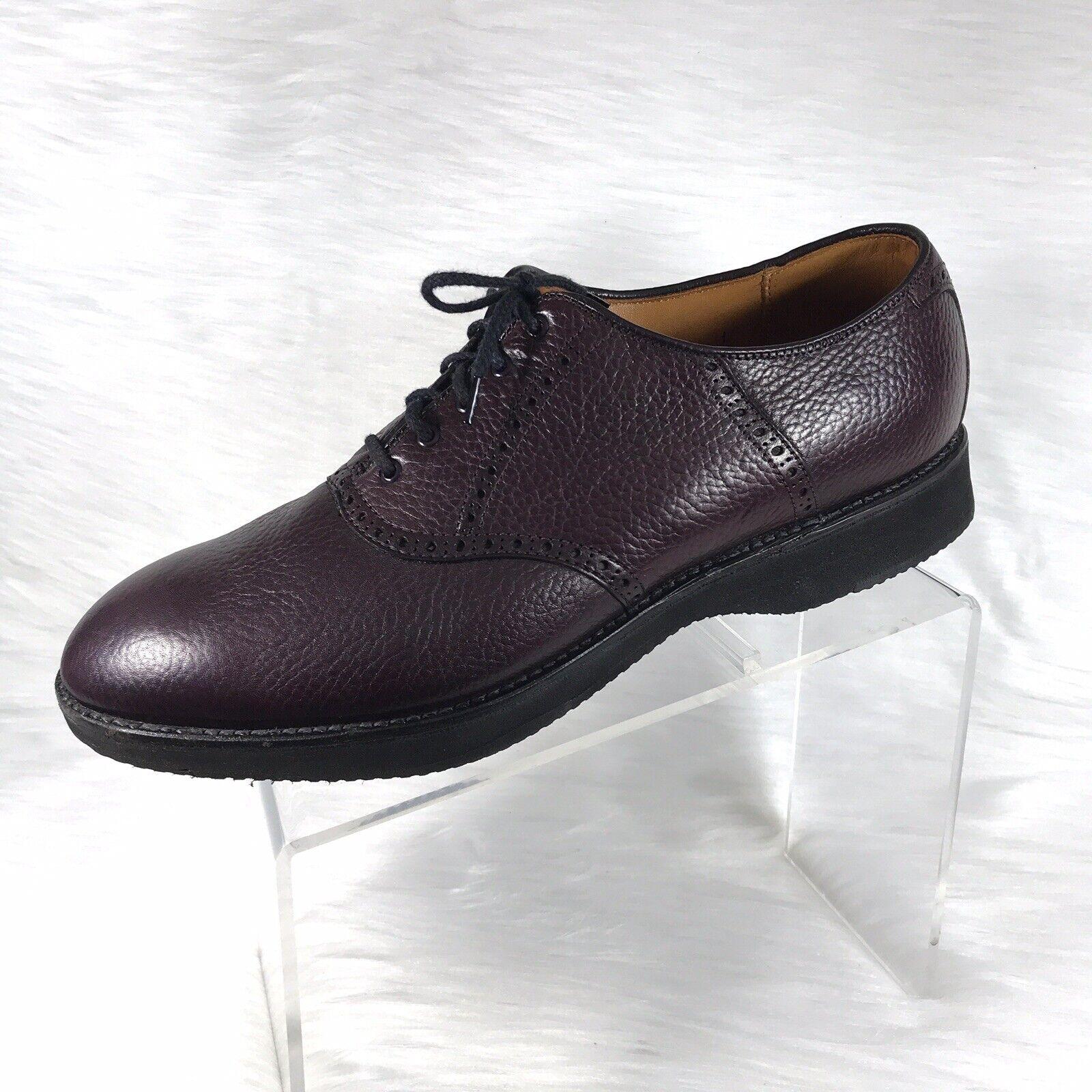 Alden Men's Oxfords Pebbled Burgundy Leather Size 11.5 A C USA Goodyear Welt