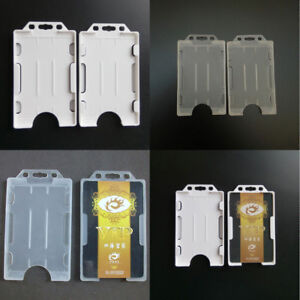 Vertical-Hard-Plastic-ID-Badge-Holder-Double-Card-Cover-Pocket-Pouch-FR