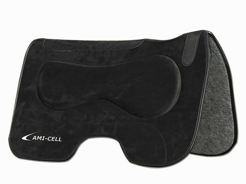 Lami-Cell barrel saddle Pad Western Équitation 27  X 32  Daim-schwarz