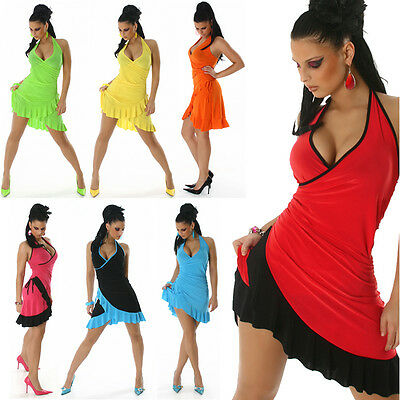 Tanz Neckholder Kleid Salsa Latina Cocktail Sommer Mini Latino Party Abendkleid