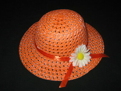 """NEW """"ORANGE DAISY"""" Dress Up Party Girls Easter Straw Hat Clothes Toddler Kid Tea"""