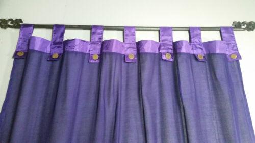 Bali Natural Cotton Coloured Tab Curtains Purple Pair