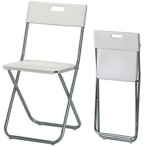 Pleasing Details About White Folding Chair Home Office Study Desk Padded Small Portable Fold Away Metal Gmtry Best Dining Table And Chair Ideas Images Gmtryco