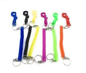 -Retractable Spiral Stretchy Elastic Coil Keyring Key Chain Ring Plastic