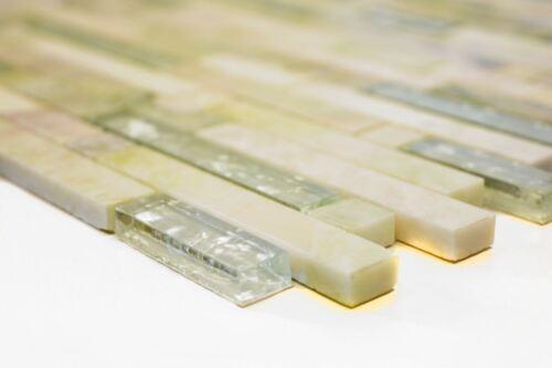 Mosaik Fliese Transluzent gold hellgrün Glasmosaik 87-MV738/_f10 Matten
