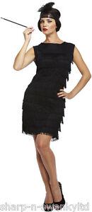 Ladies-Black-1920s-20S-Flapper-Gatsby-Fancy-Dress-Costume-Outfit-STD-Plus-Size