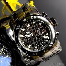 Mens Invicta Pro Diver Scuba Carbon Fiber Chronograph Black Steel 48mm Watch New