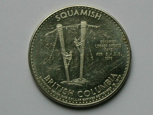 Squamish BC CANADA 1979 Trade DOLLAR Token with CPR Locomotive & Type B Variety