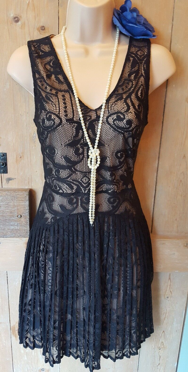 BNWT Vintage 20s style lacey flapper gatsby charleston party Xmas dress 8