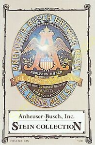 Vintage-Anheuser-Busch-Brewing-Assn-Stein-Collection-Catalog-1st-Edition-1990
