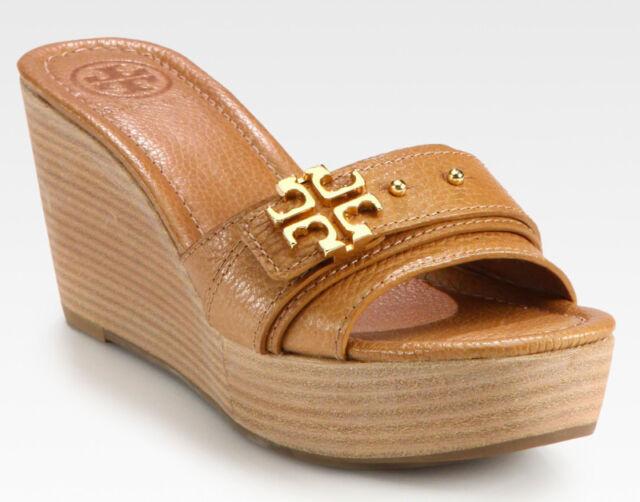 9e105150f NEW TORY BURCH Elina Mid-Wedge Gold Logo Tan Leather Platform Slide Sandal  10.5