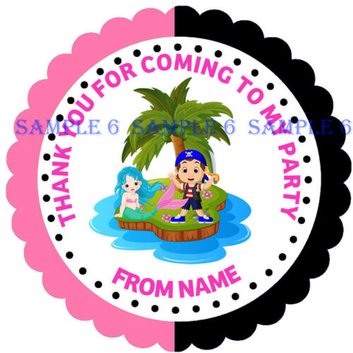 MERMAID /& PIRATE Stickers for party bags//Sweet Cones My//Our Party Rf 01-01