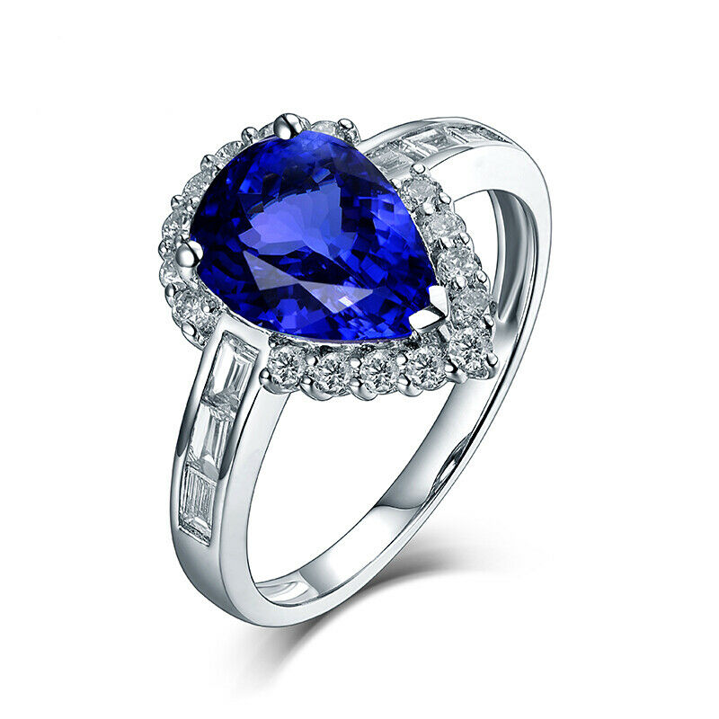 14Kt White gold Diamond 2.08ct Pear Shape Tanzanite Engagement Wedding Ring