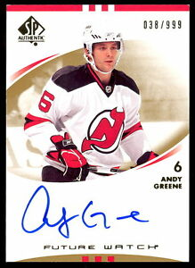 07 08 Sp Authentic Spa 228 Andy Greene Autograph Rookie Auto 999