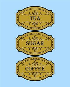 Tea Coffee Sugar jar labels stickers organise Waterproof vinyl Just peel & stick