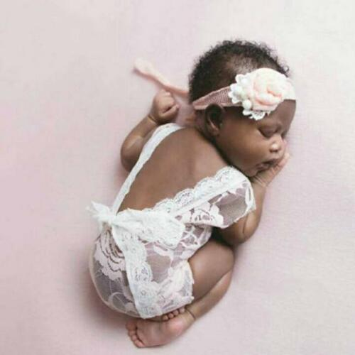 Newborn Infant Baby Girls Photo Props Outfit Lace Romper Photography Props WT