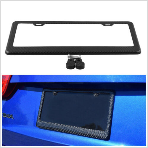 Real Carbon Fiber License Plate Frame Tag Cover A-3K Twill US Car Standard Size