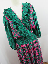 Diane Fres Vintage Womens Green Pink Purple Black Dress Ruffles Georgette HC