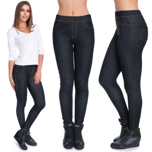 Damen Winter Leggings Fleece Innen Denim-Look Voll Länge Hose M-XXL SF905