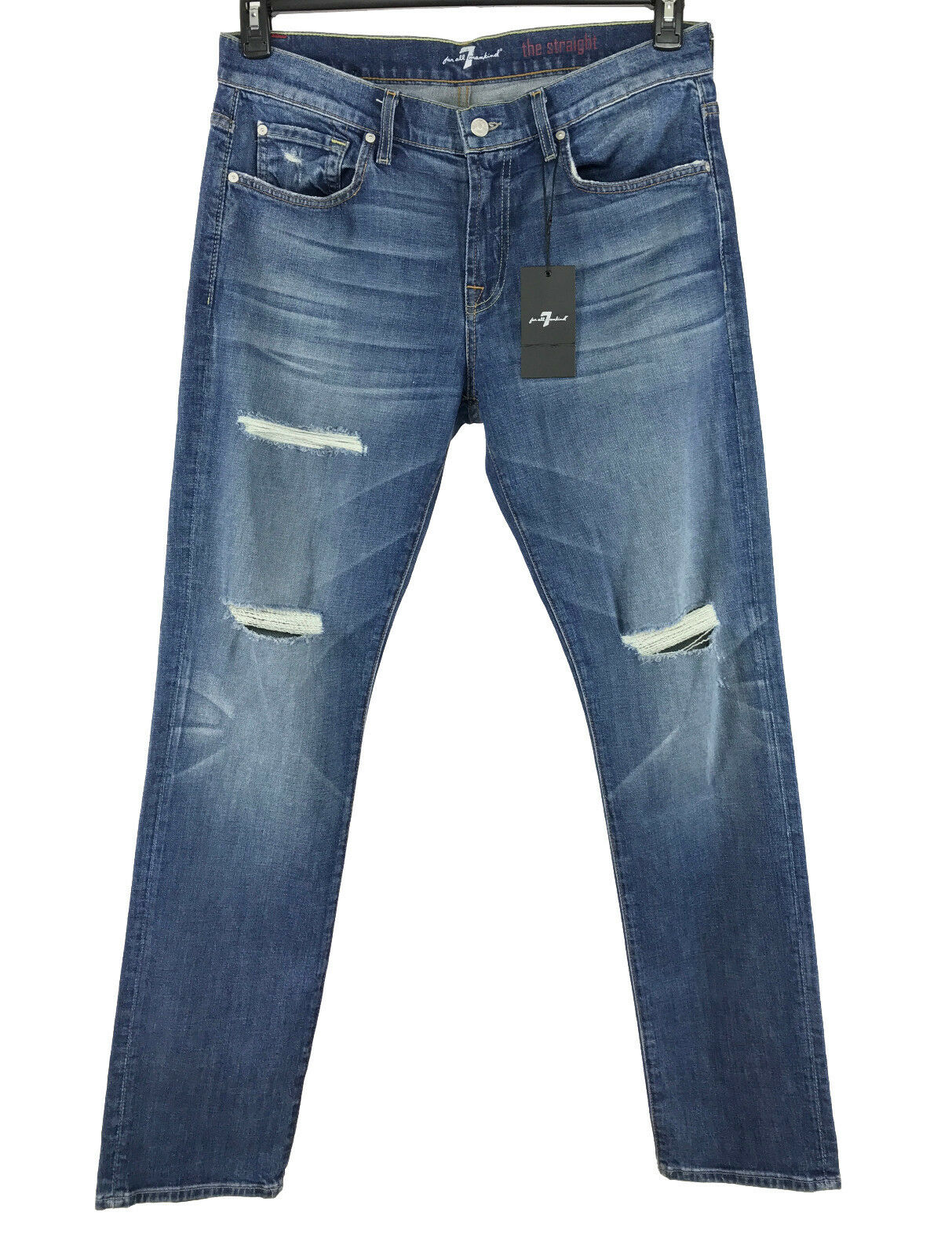 7 For All Mankind Herren Blau The Gerade Distressed Jeans 34x34