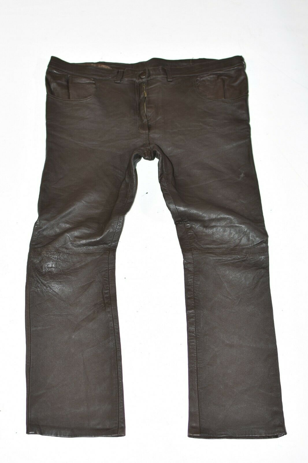 Brown Real Leather Straight Slim Biker Women's Trousers Pants Size W38  L27