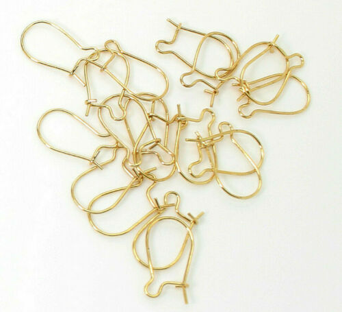"24 Gauge 0.5mm Lot Gold Kidney earwire 0.5/"" x 0.5/"" Gold- PAS70"