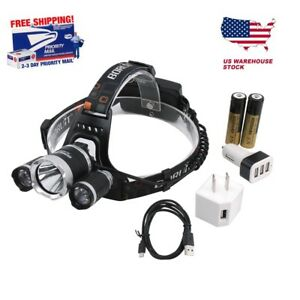 USA-BORUiT-Headlamp-16000lm-3x-XM-L-T6-CREE-LED-Headlight-18650-Battery-Charger