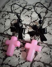 Pink Cross, Pastel Goth Earrings with Black Bows. Gothic Lolita. Scene. Emo.