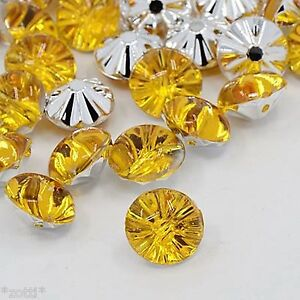 20-Gold-Yellow-Acrylic-Rhinestone-Crystal-Buttons-Elegant-Bestseller-13mm-Sew