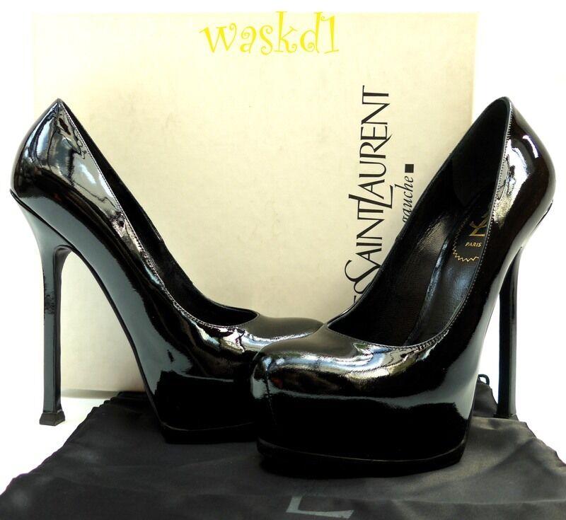 c13b4b41223 Yves Saint Laurent Black 38.5  Patent Leather Tribtoo 105 Platform ...