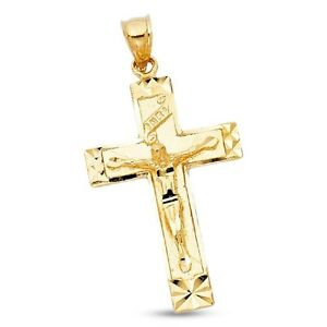 a757a40c6438b Jesus INRI Cross Pendant Solid 14k Yellow Gold Crucifix Charm ...
